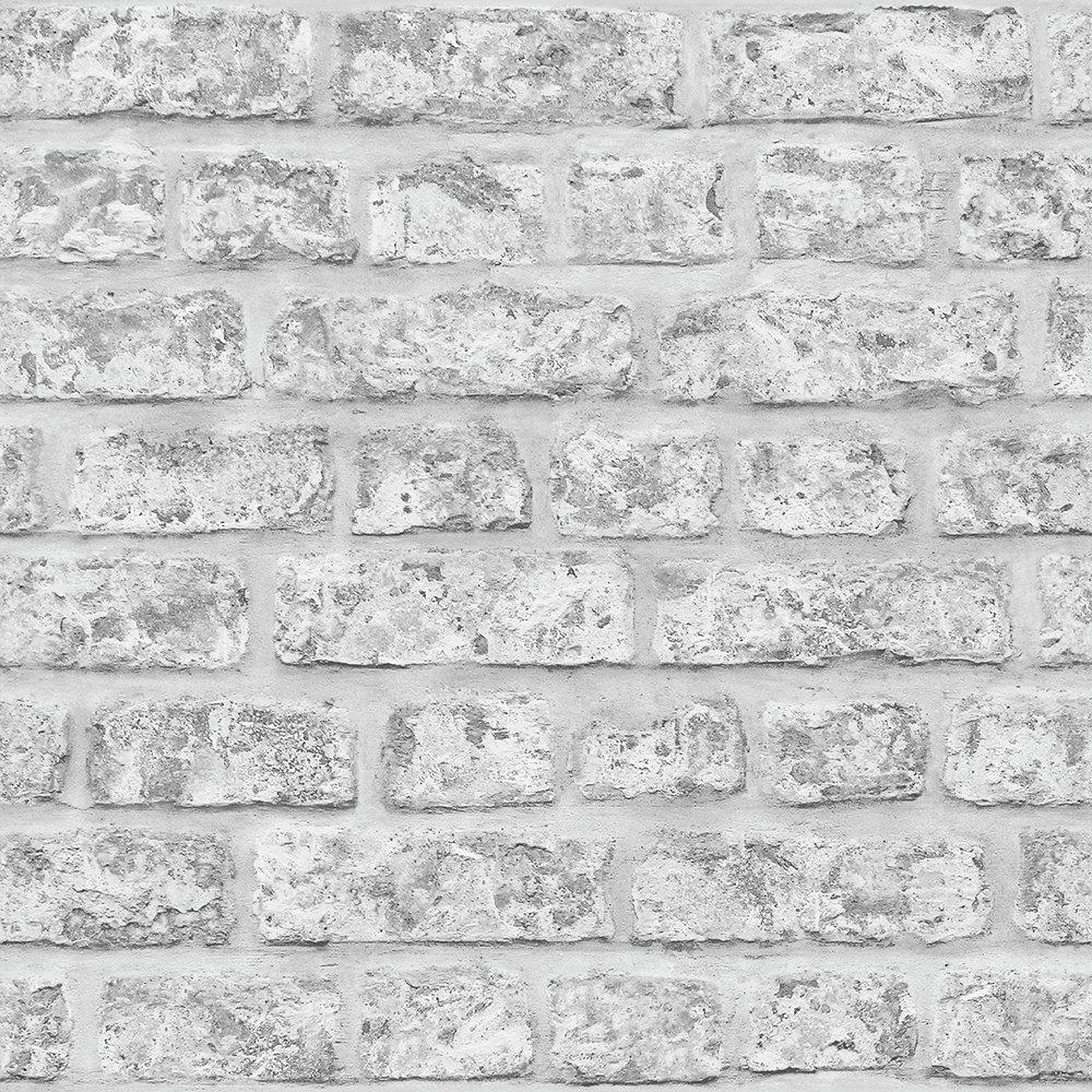 Arthouse Rustic Brick Grey Wallpaper