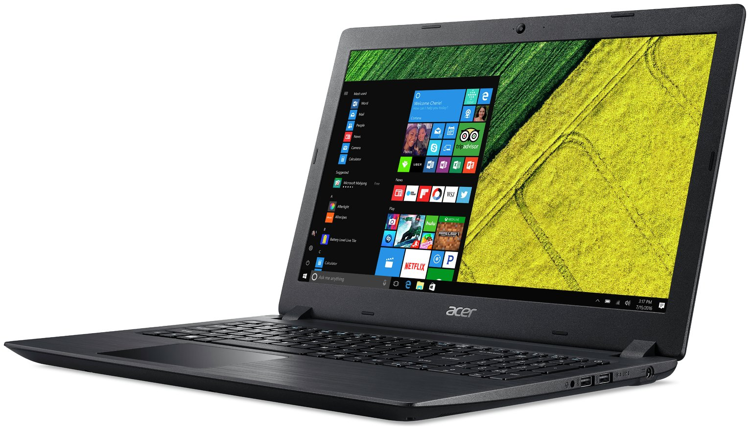 Acer 15.6 Inch i3 4GB 128GB Laptop - Black