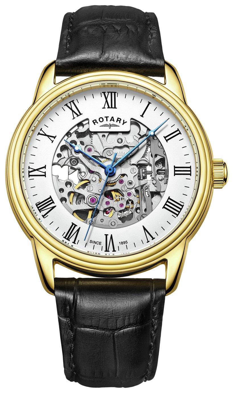 Rotary Men's GS03036 Skeleton Black Strap Watch