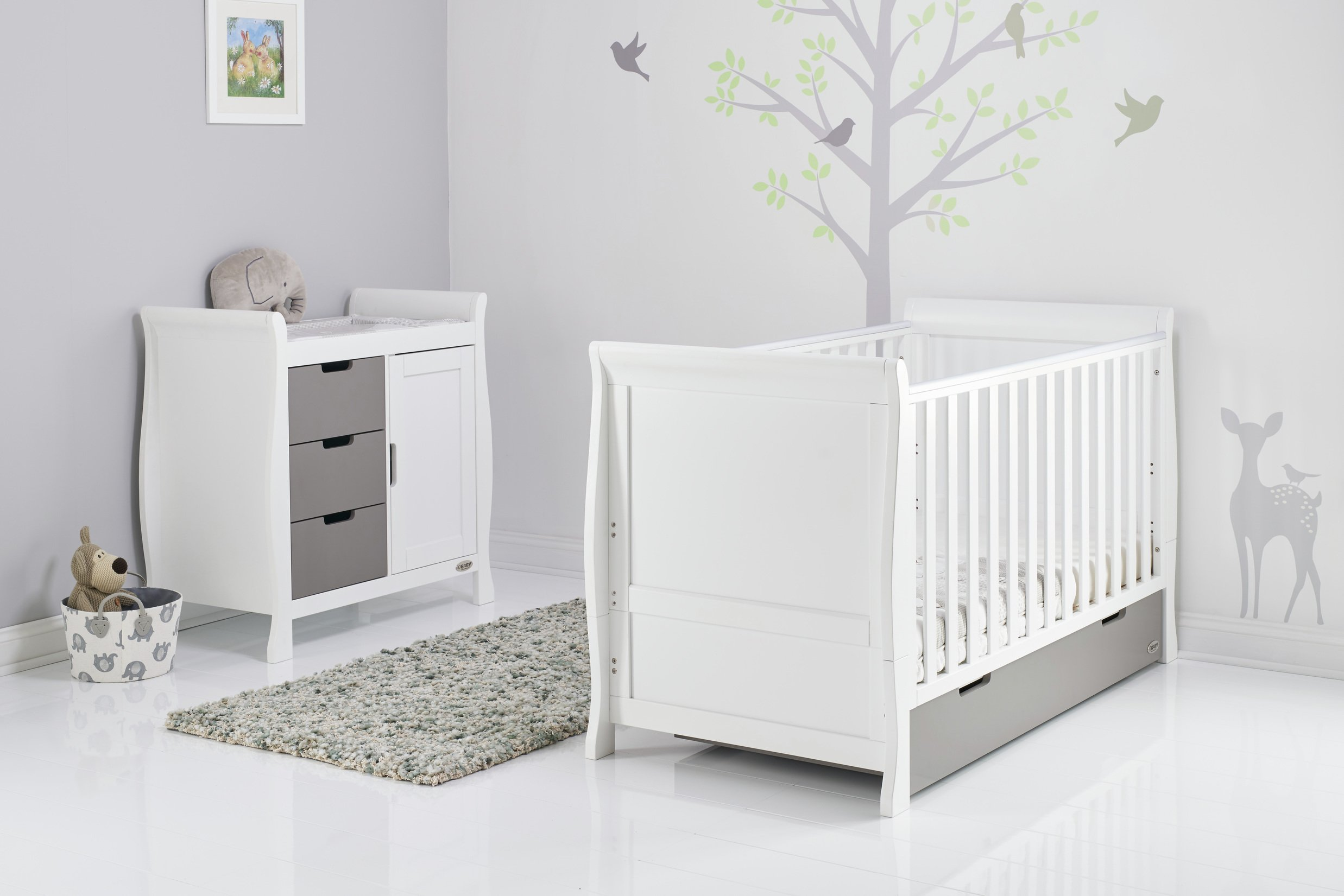 Obaby Stamford Sleigh 2 Piece Room Set - White & Taupe Grey