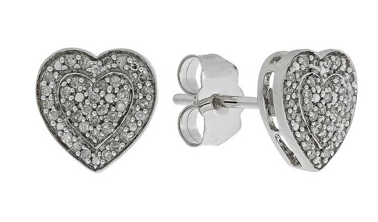Revere 9ct White Gold Diamond Heart Cluster Stud Earrings