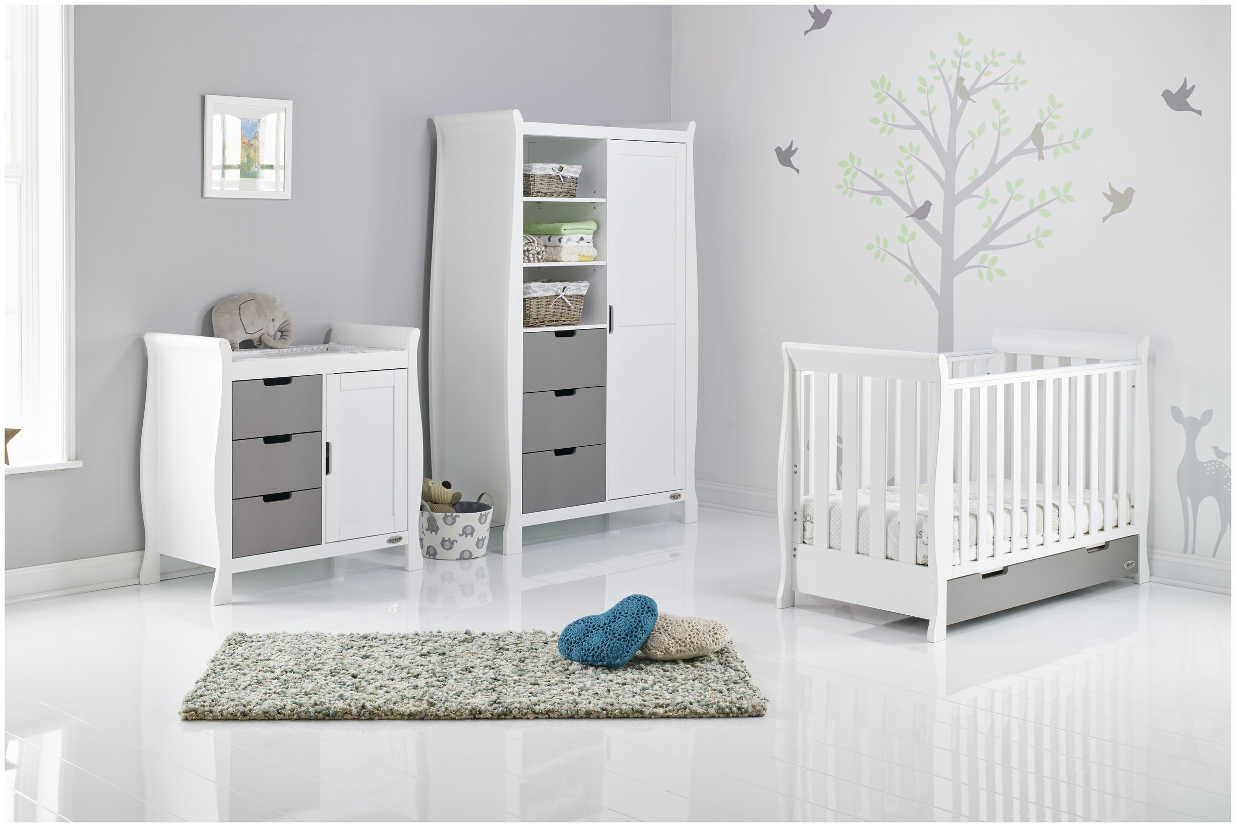 Obaby Stamford Mini Sleigh 3 Piece Room Set - White & Grey