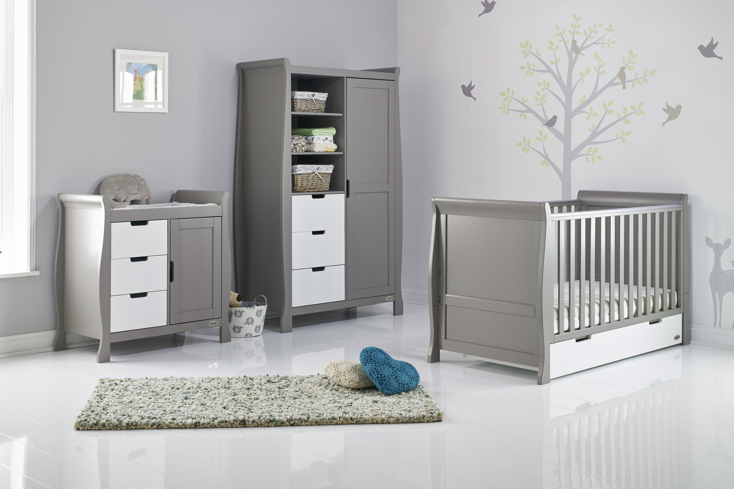 Obaby Stamford Sleigh 3 Piece Room Set - Taupe Grey & White