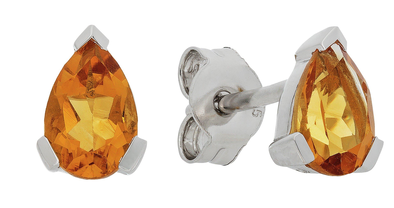 Revere 9ct White Gold Citrine Teardrop Stud Earrings