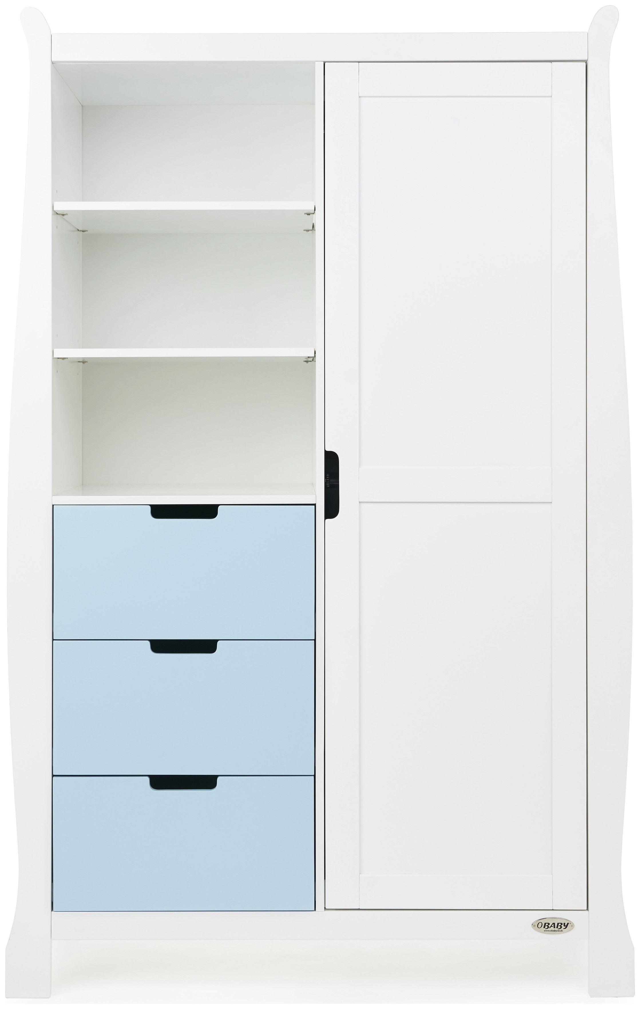 Obaby Stamford Sleigh Double Wardrobe - White & Bonbon Blue