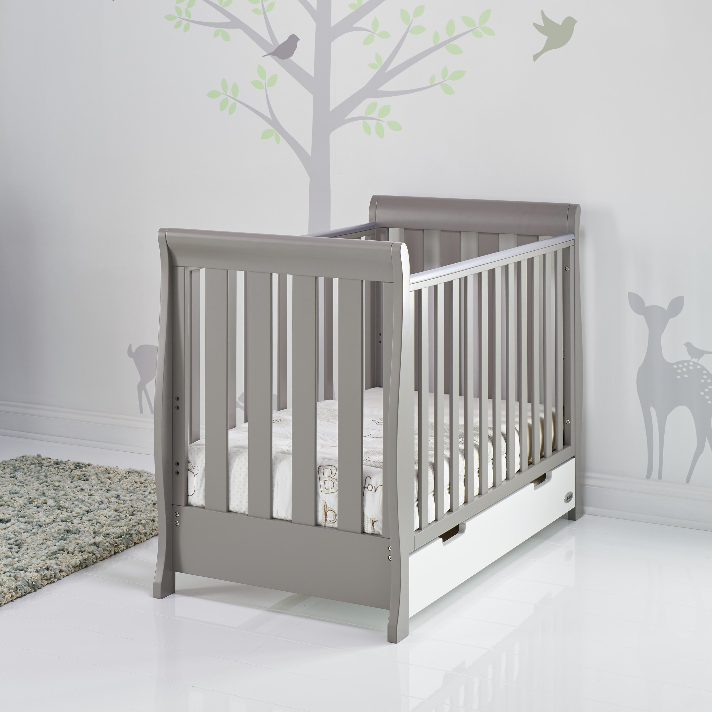Obaby Stamford Mini Sleigh Cot Bed - Taupe Grey & White