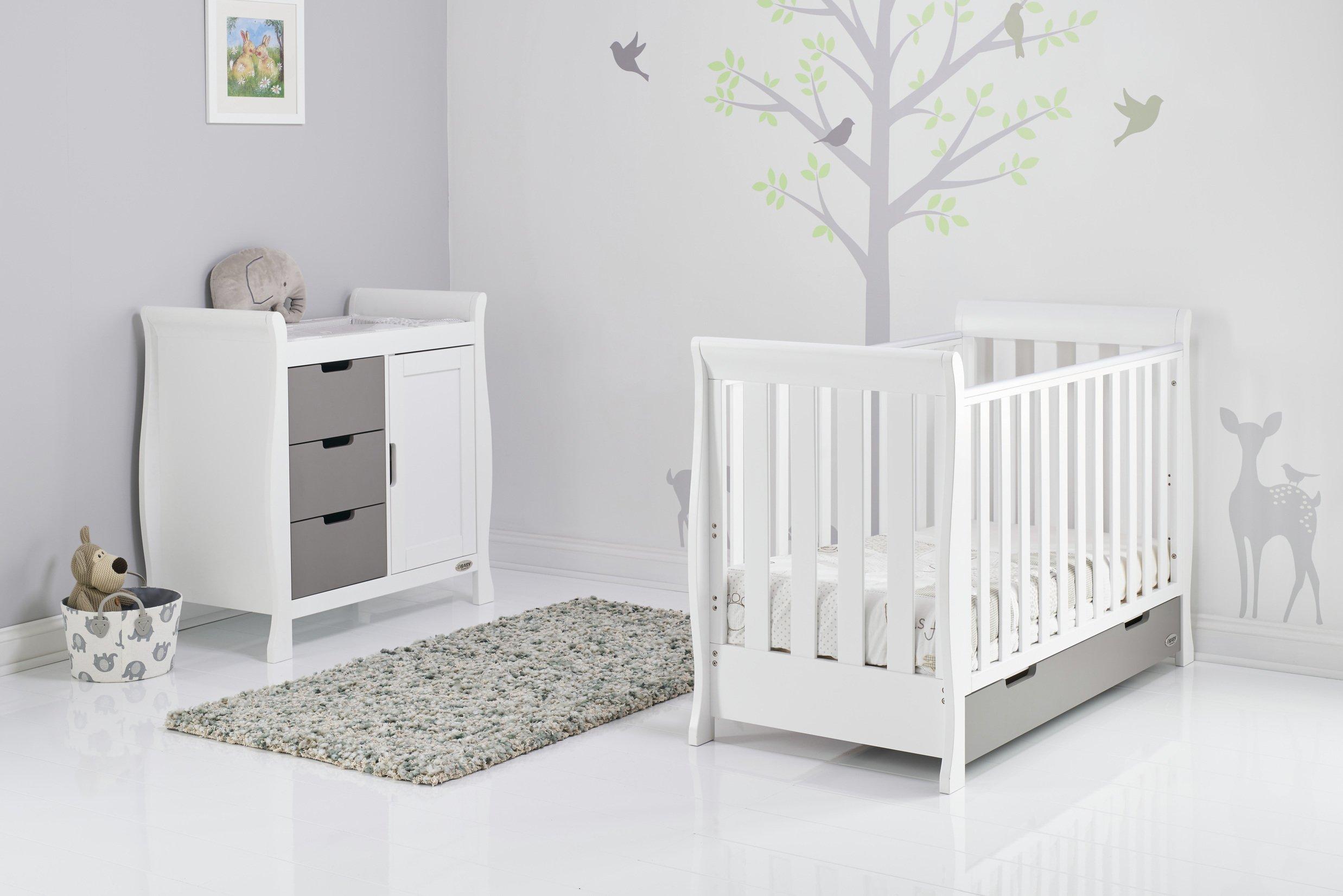 Obaby Stamford Mini Sleigh 2 Piece Room Set - White & Grey