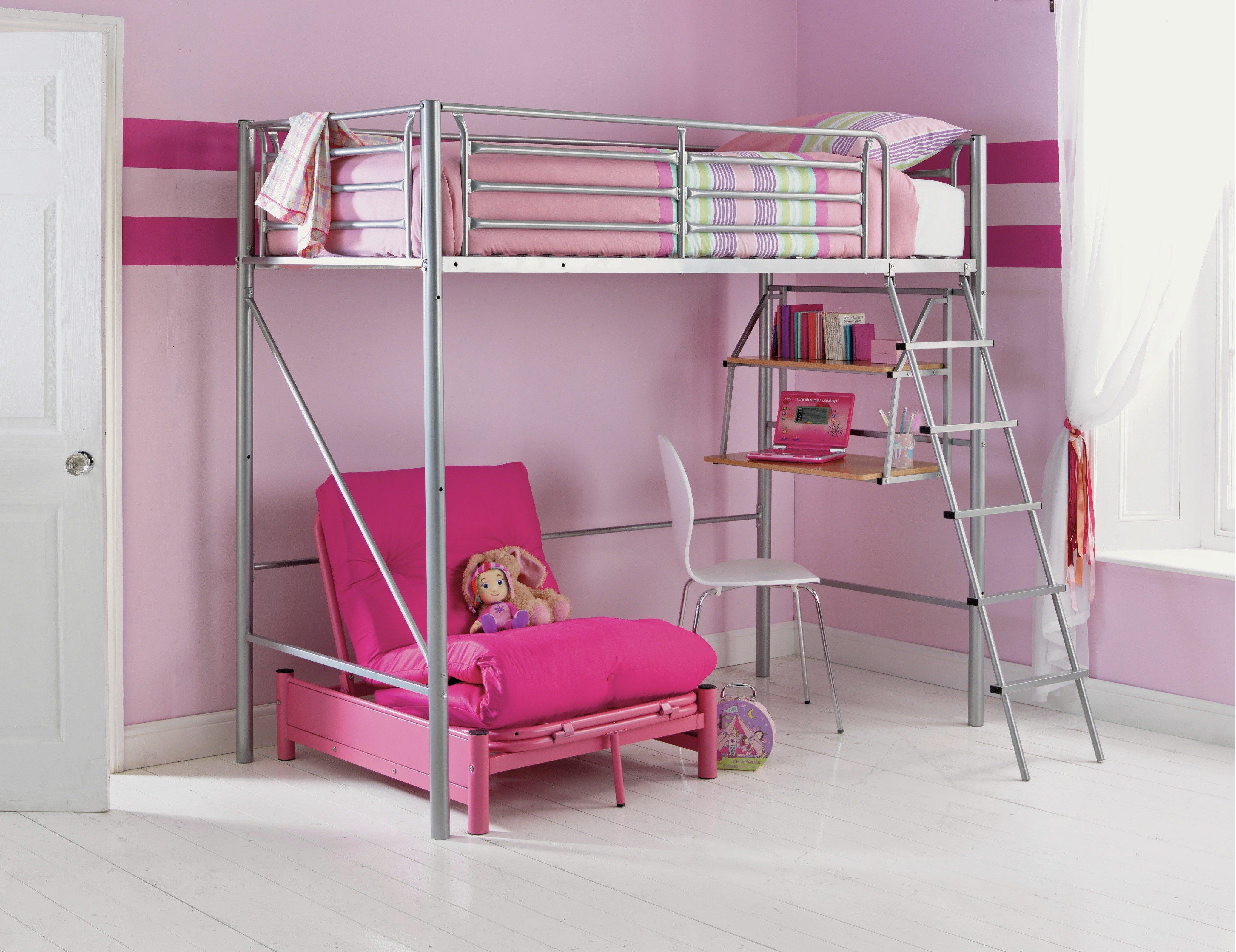 High sleeper loft style cabin bed with hideaway futon bed rutland - Home Sit U0027n Sleep Metal High Sleeper Bed Frame Pink Futon737 2140