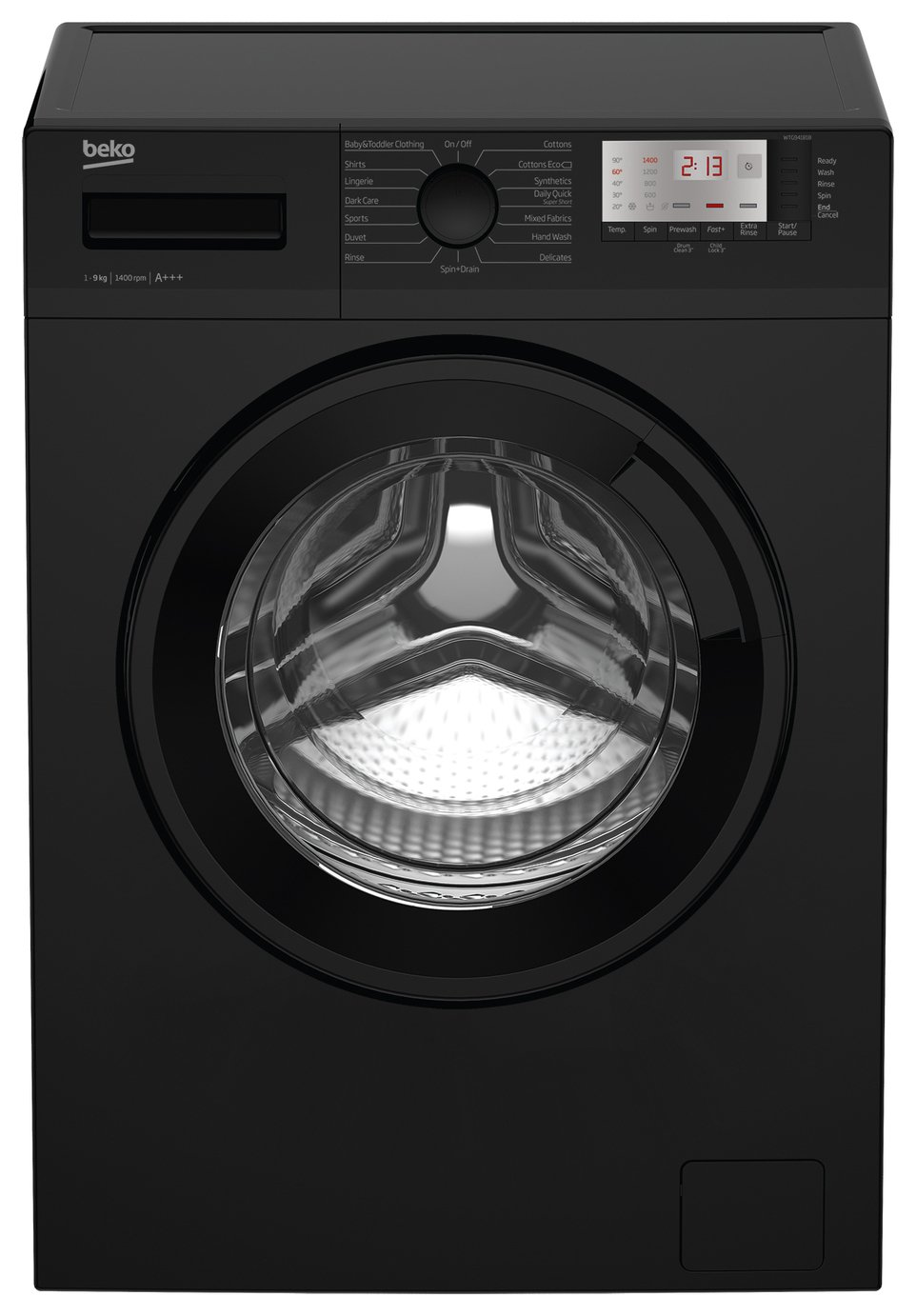 Image of Beko WTG941B1B 9KG 1400 Spin Washing Machine - Black
