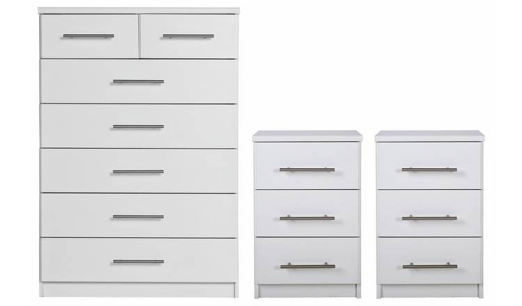 Argos Home Normandy 2 Bedside & 5+2 Drawer Chest Set - White