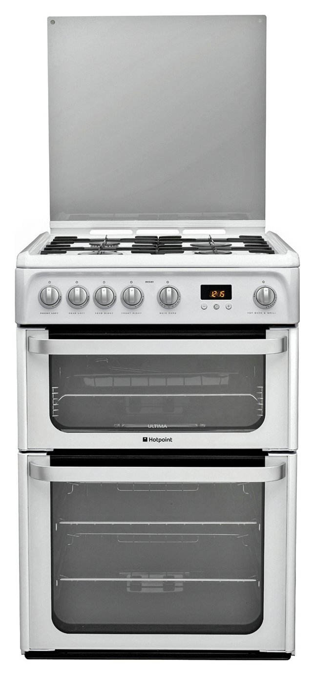 hotpoint hug61p double gas cooker white 7373558. Black Bedroom Furniture Sets. Home Design Ideas