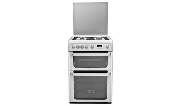 Hotpoint HUG61P 60cm Double Oven Gas Cooker - White