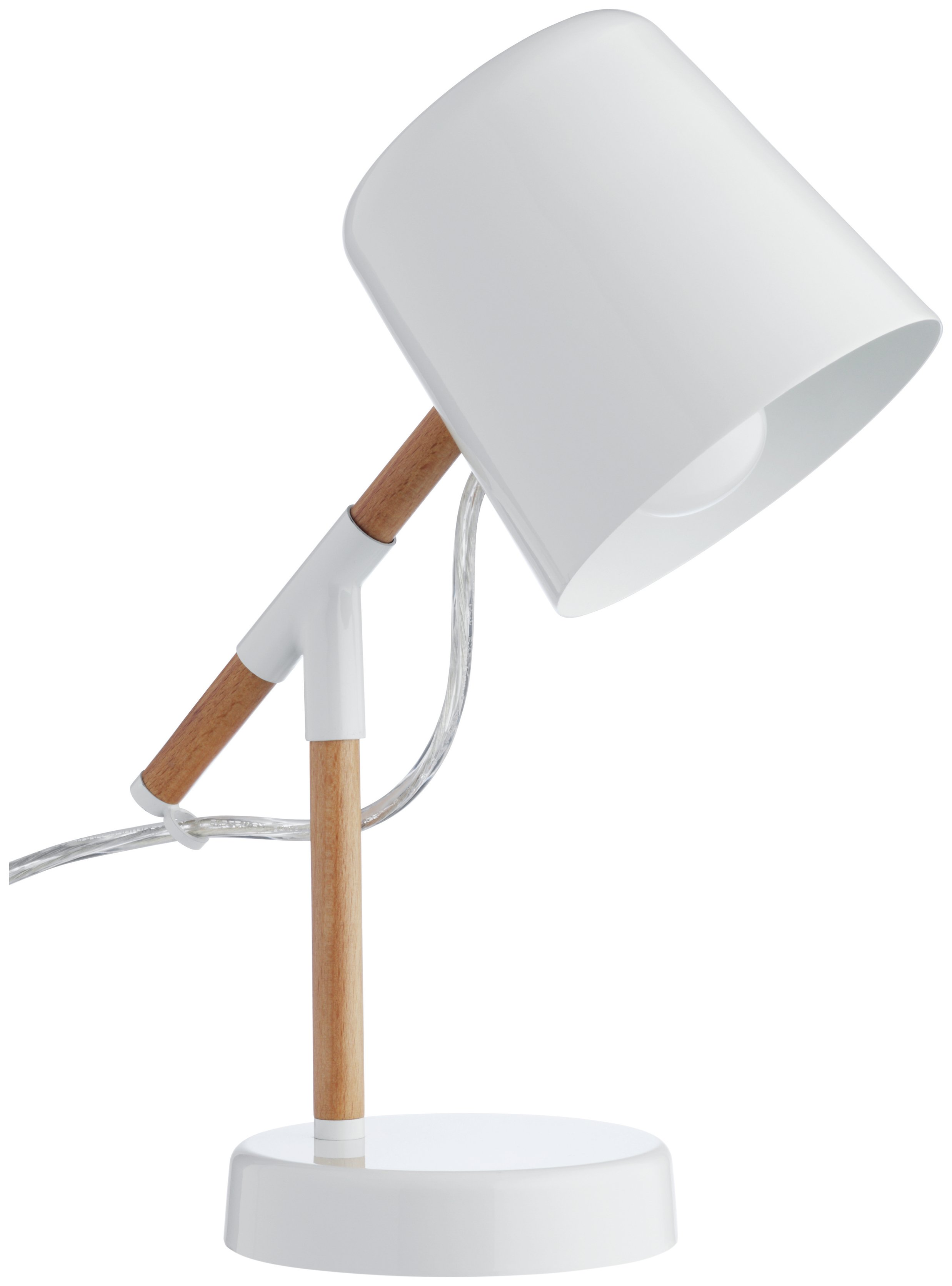 Habitat Peeta Wood and Metal Desk Lamp - White