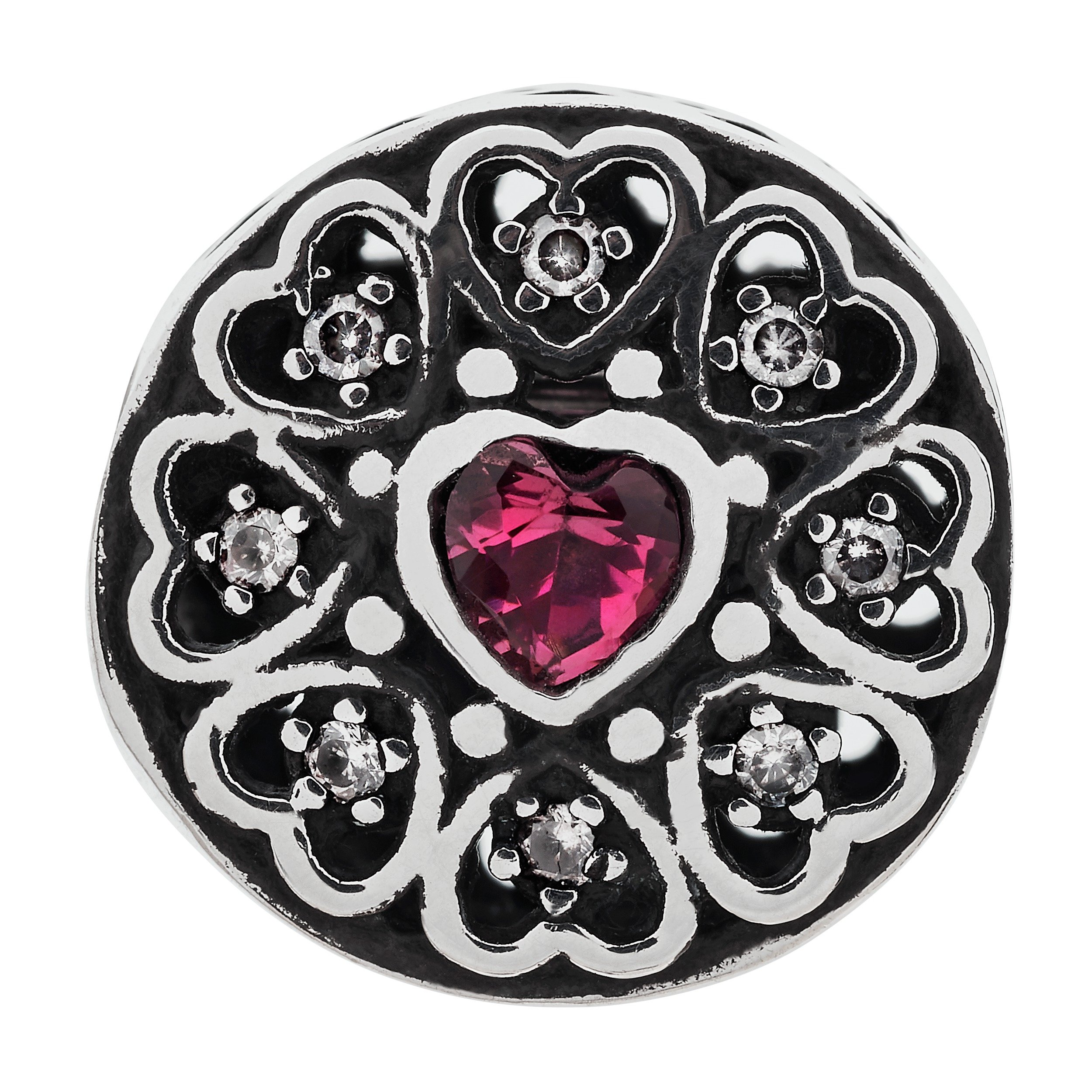 Moon & Back Sterling Silver Pink Cubic Zirconia Heart Bead