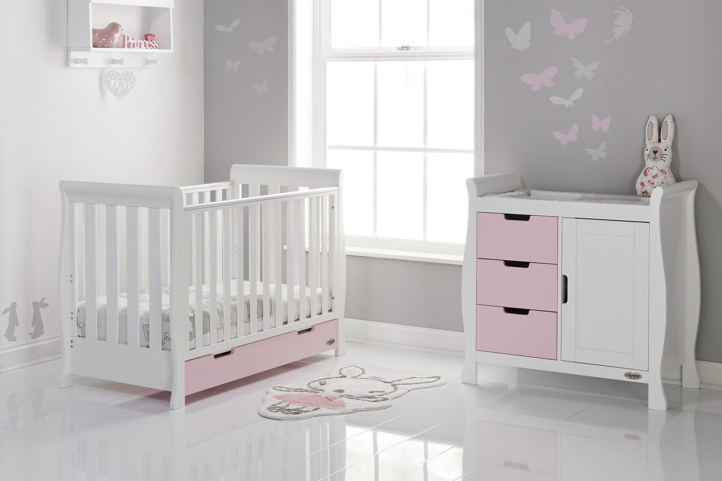 Obaby Stamford Mini Sleigh 2 Piece Room Set - White & Eton