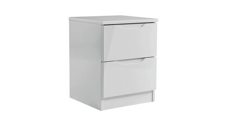 Legato 2 Drawer Bedside Table - Grey Gloss