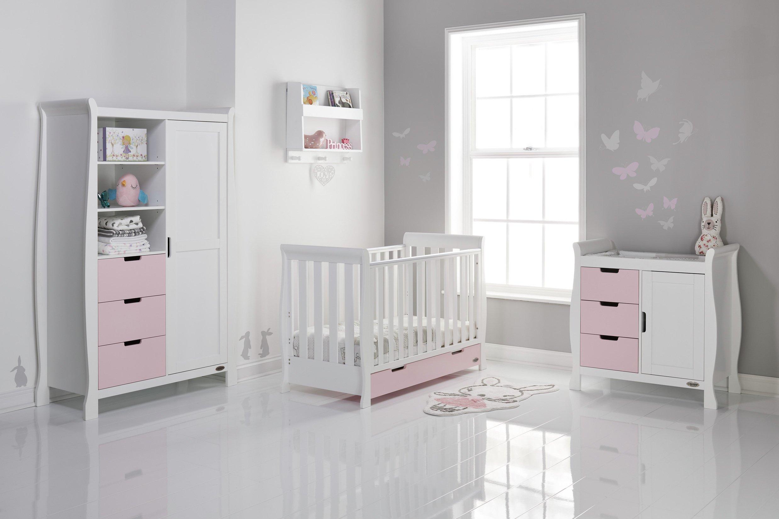 Obaby Stamford Mini Sleigh 3 Piece Room Set - White & Eton