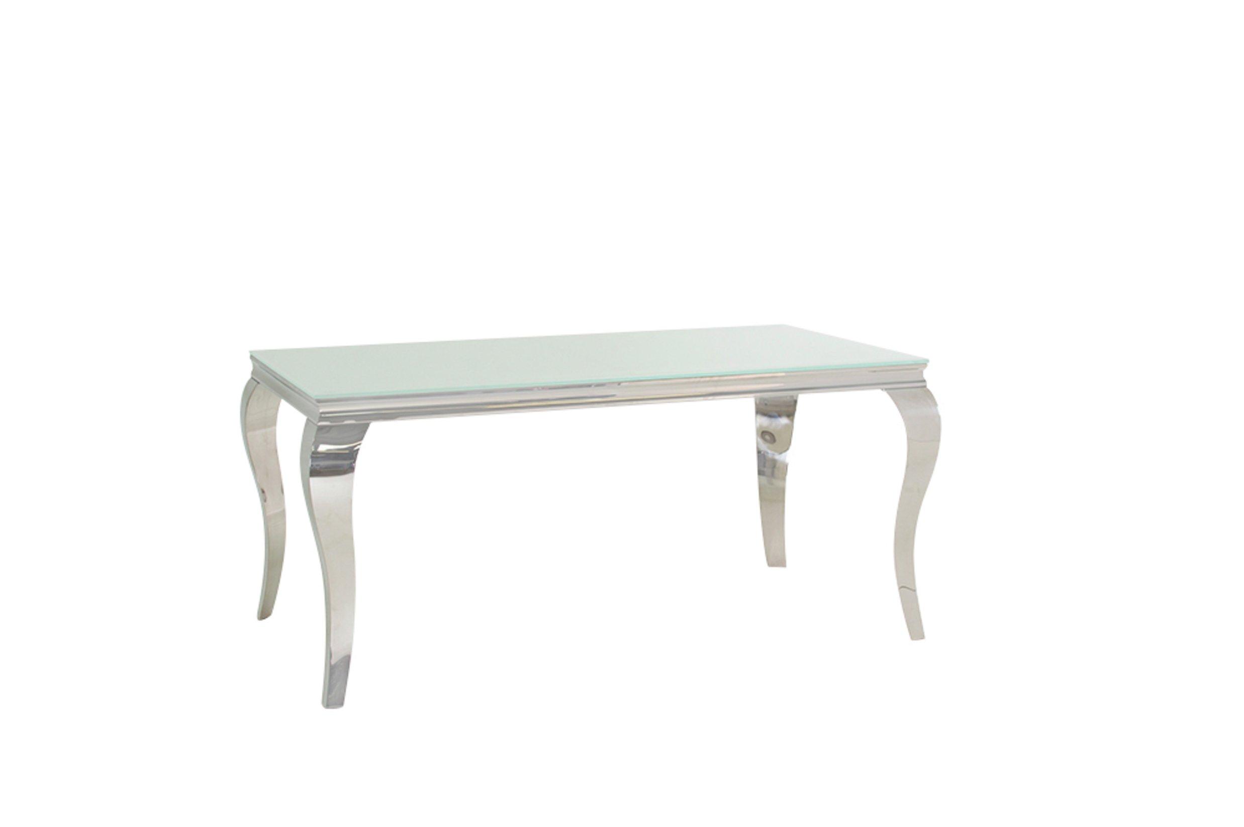 Image of Furnoko Louis Glass 4 Seater Table - White