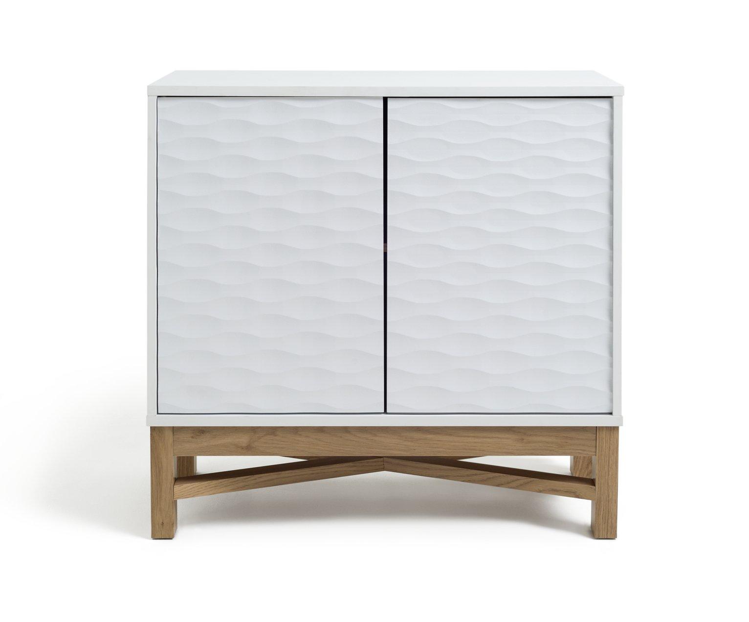 Habitat Zander Textured Small Sideboard -White/Oak Effect