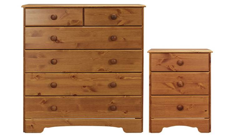 Argos Home Nordic Bedside & 4+2 Drawer Chest Set - Pine