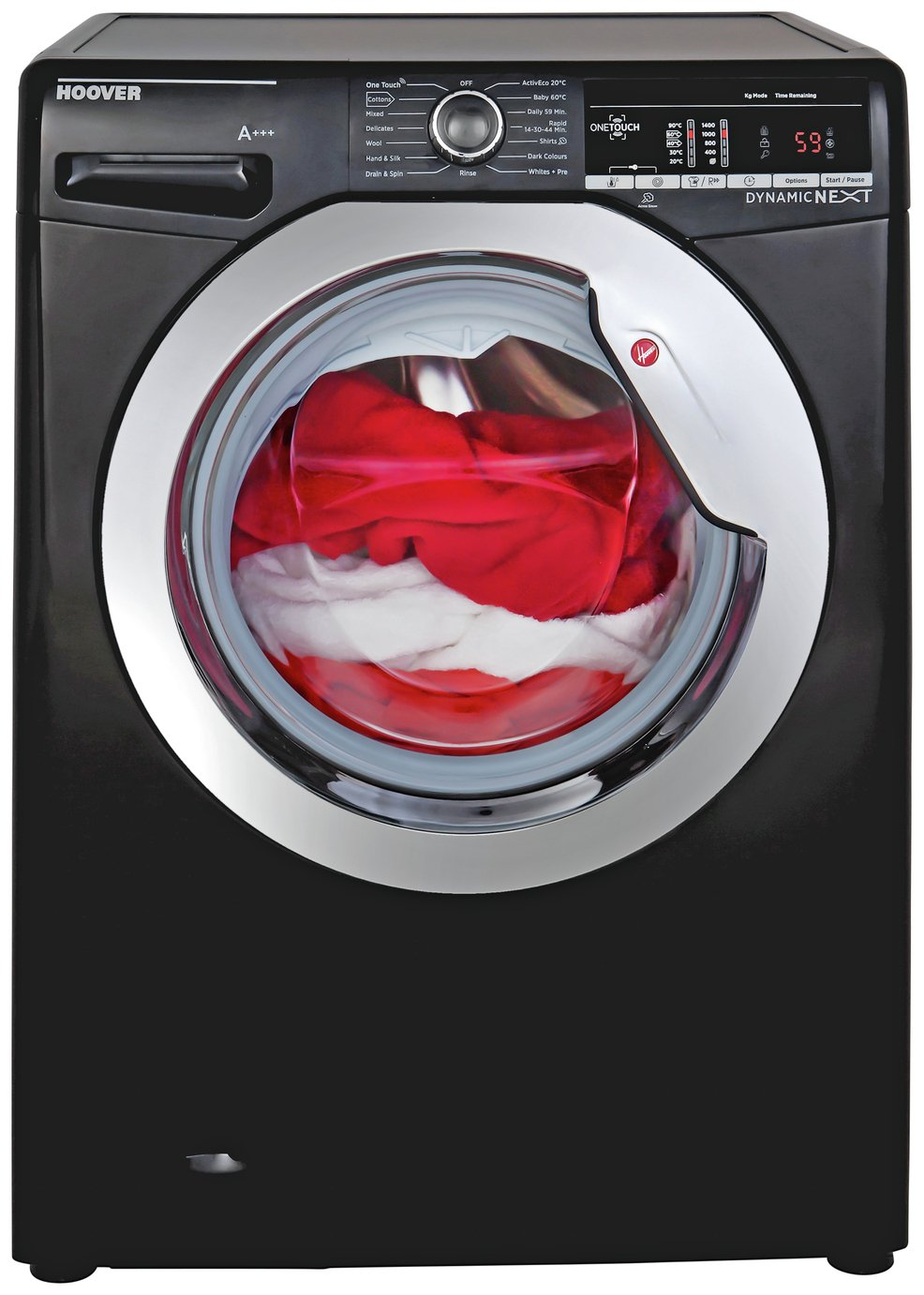 Image of Hoover DXOA 67LB3B 7KG Spin Washing Machine - Black + installation