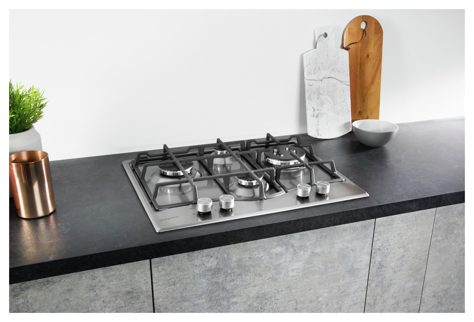 Hotpoint PCN64TIXH 60cm Gas Hob - Stainless Steel.
