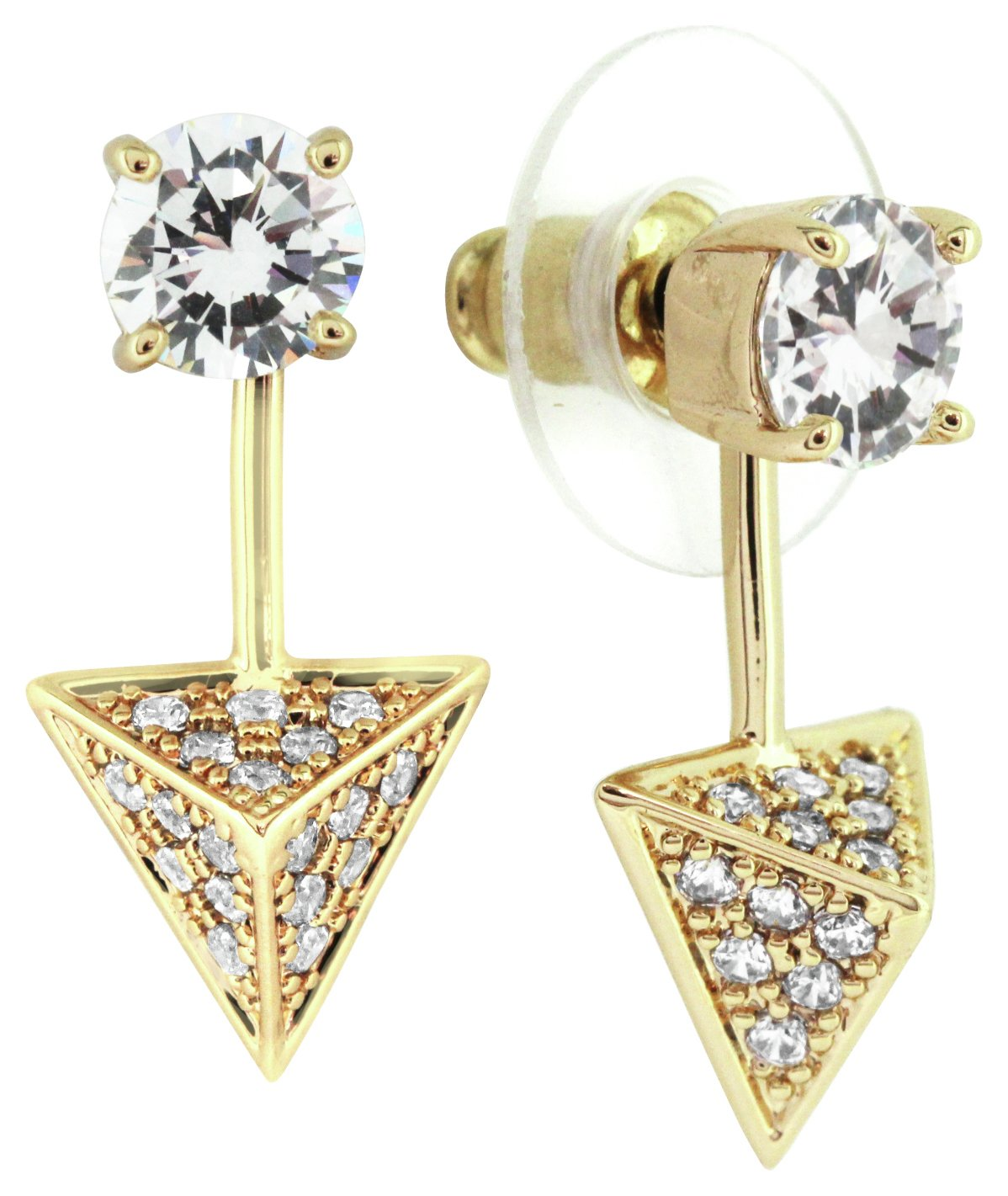 Image of Abbey Clancy Gold Colour CZ Triangle Earrings