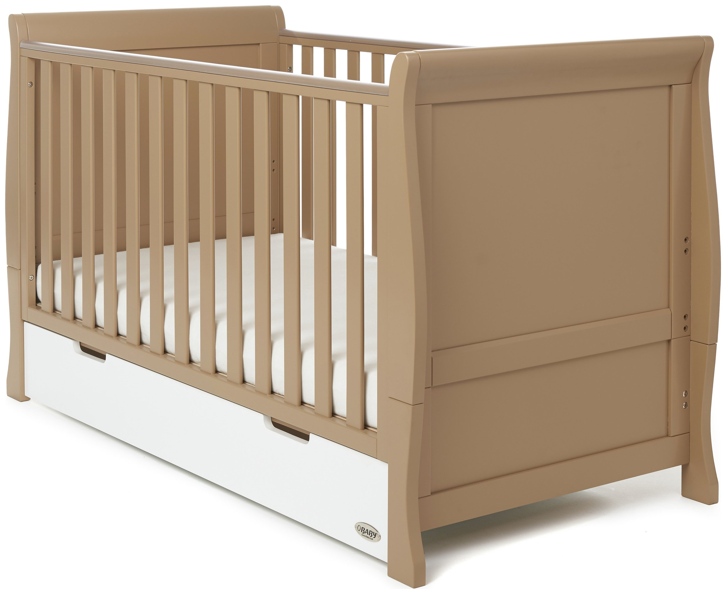 Image of Obaby Stamford Retro Cot Bed - Iced Coffee with White