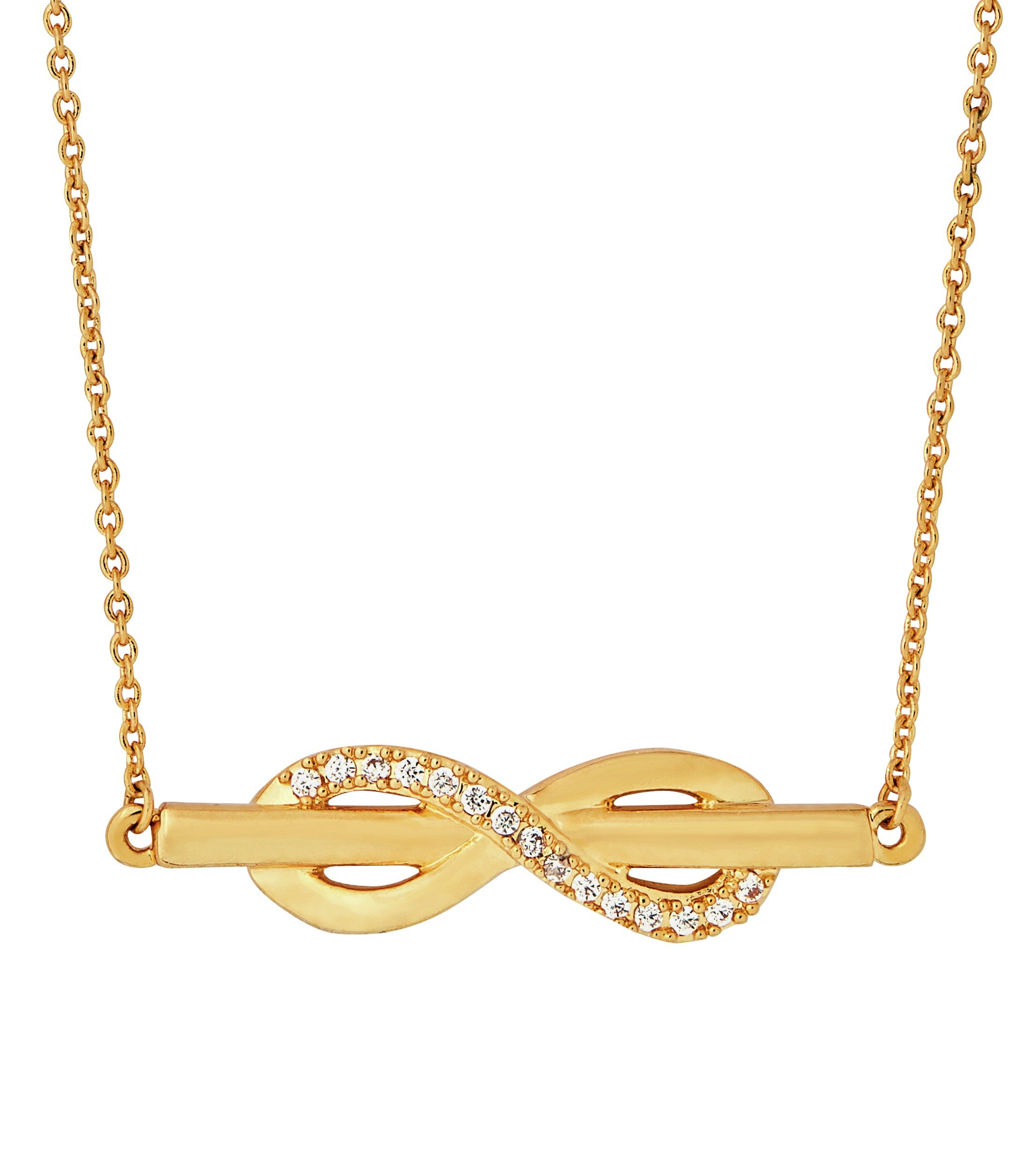 Image of Abbey Clancy Gold Colour Cubic Zirconia Infinity Necklace
