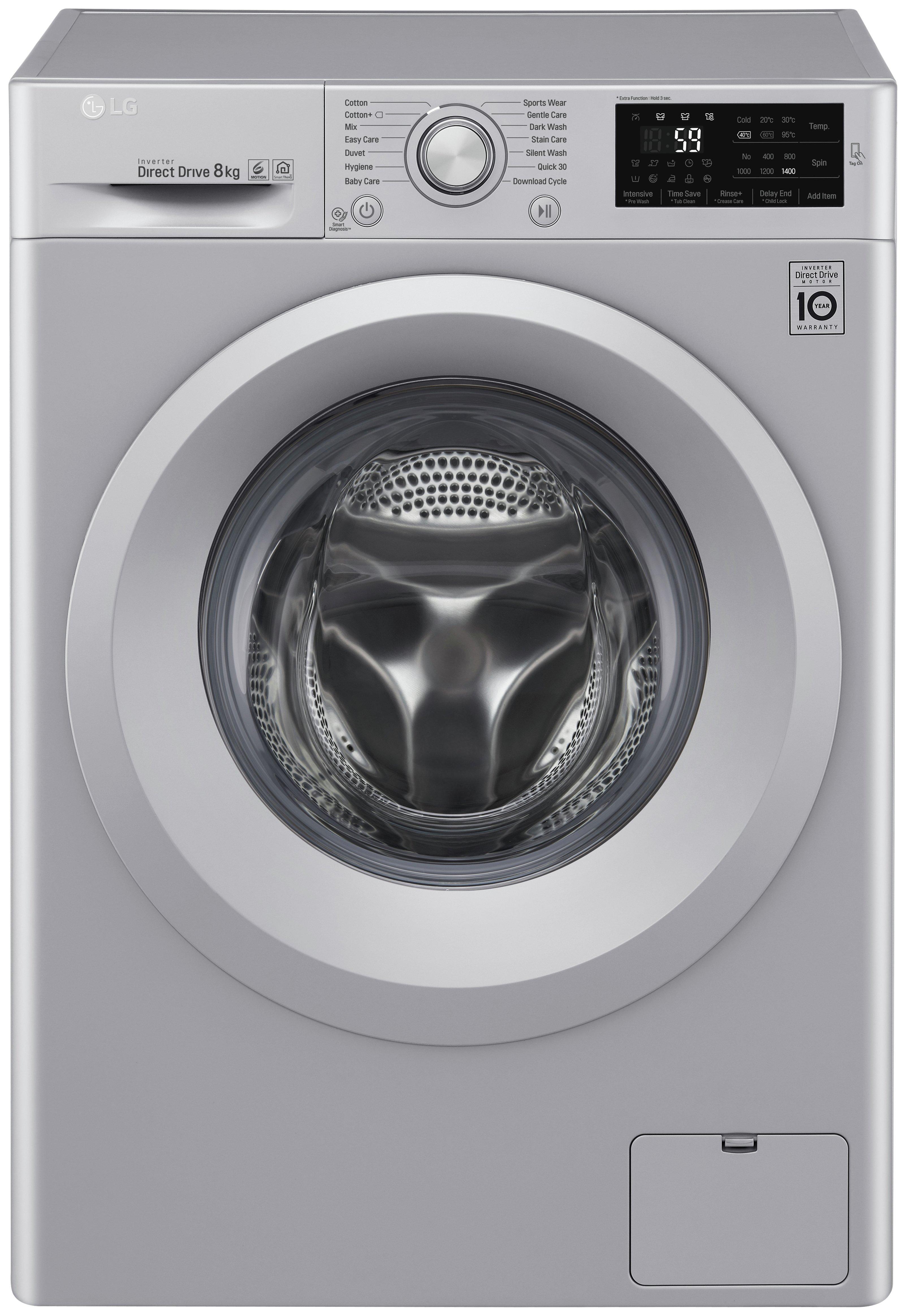 Image of LG F4J5TN4L 8KG 1400 Spin Washing Machine - Silver