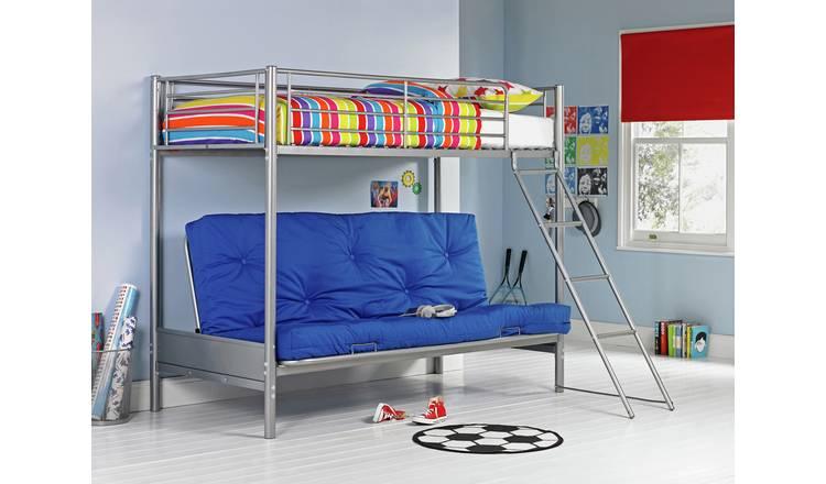 Argos Home Metal Bunk Bed Frame with Blue Futon 0