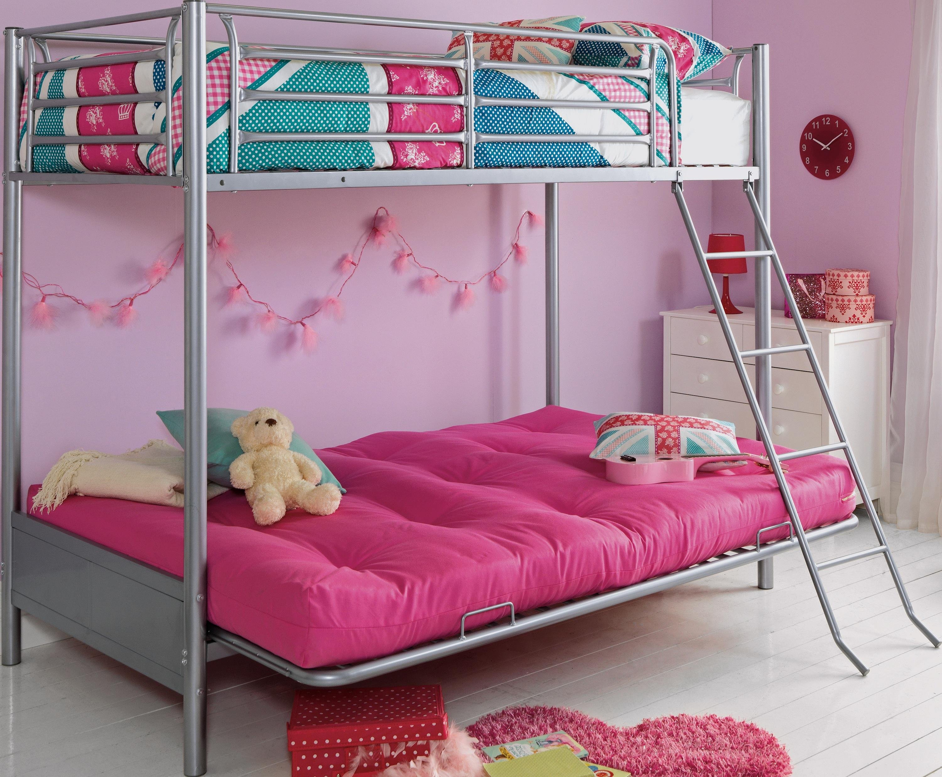 buy home metal bunk bed frame with futon fuchsia at argoscouk single futon bed argos  rh   emagine us