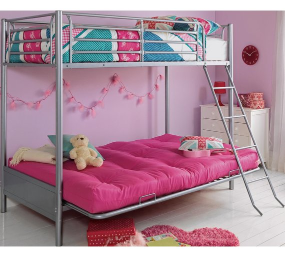 buy argos home metal bunk bed frame with futon fuchsia. Black Bedroom Furniture Sets. Home Design Ideas