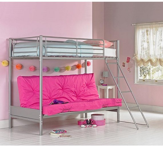 Buy HOME Metal Bunk Bed Frame With Futon