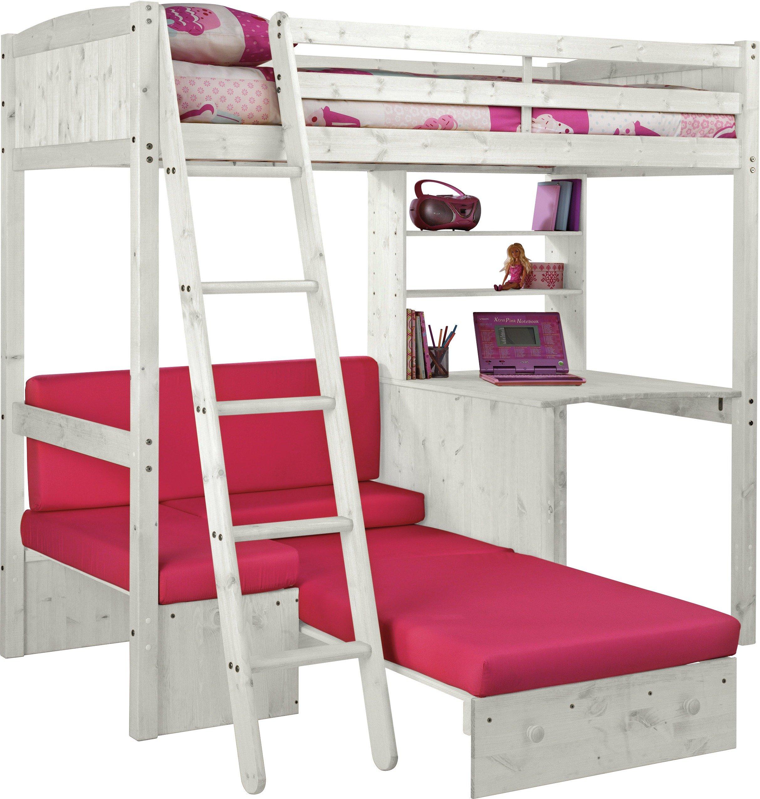 Buy HOME Classic High Sleeper Bed Sofa Bed Fuchsia White at