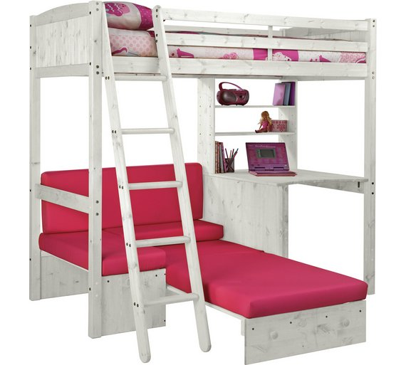 Buy HOME Classic High Sleeper Bed Frame Fuchsia Sofa BedWhite – High Sleeper Bed with Desk and Sofa Bed