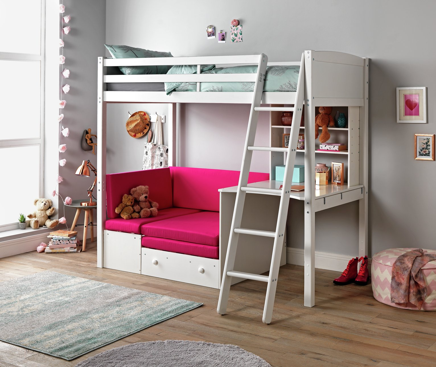Image of Classic High Sleeper Bed Frame with Fuchsia Sofa Bed- White