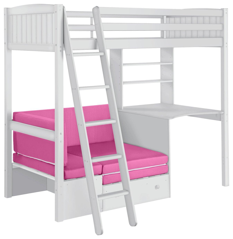 Buy HOME Classic High Sleeper Bed & Sofa Bed Fuchsia & White at