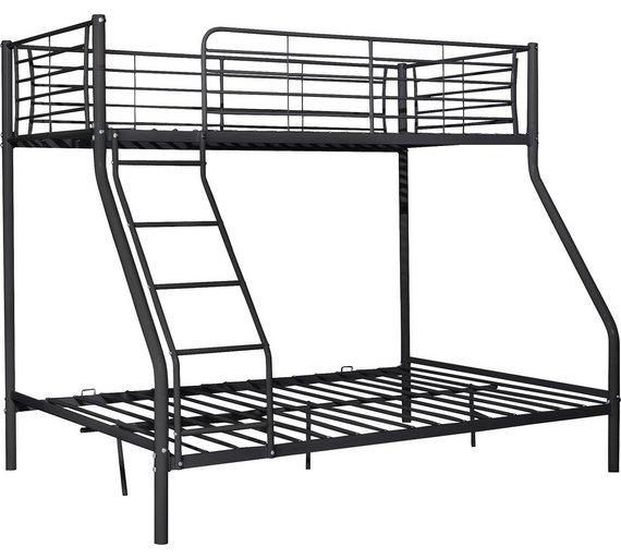 buy home lucas metal triple bunk bed frame black at. Black Bedroom Furniture Sets. Home Design Ideas