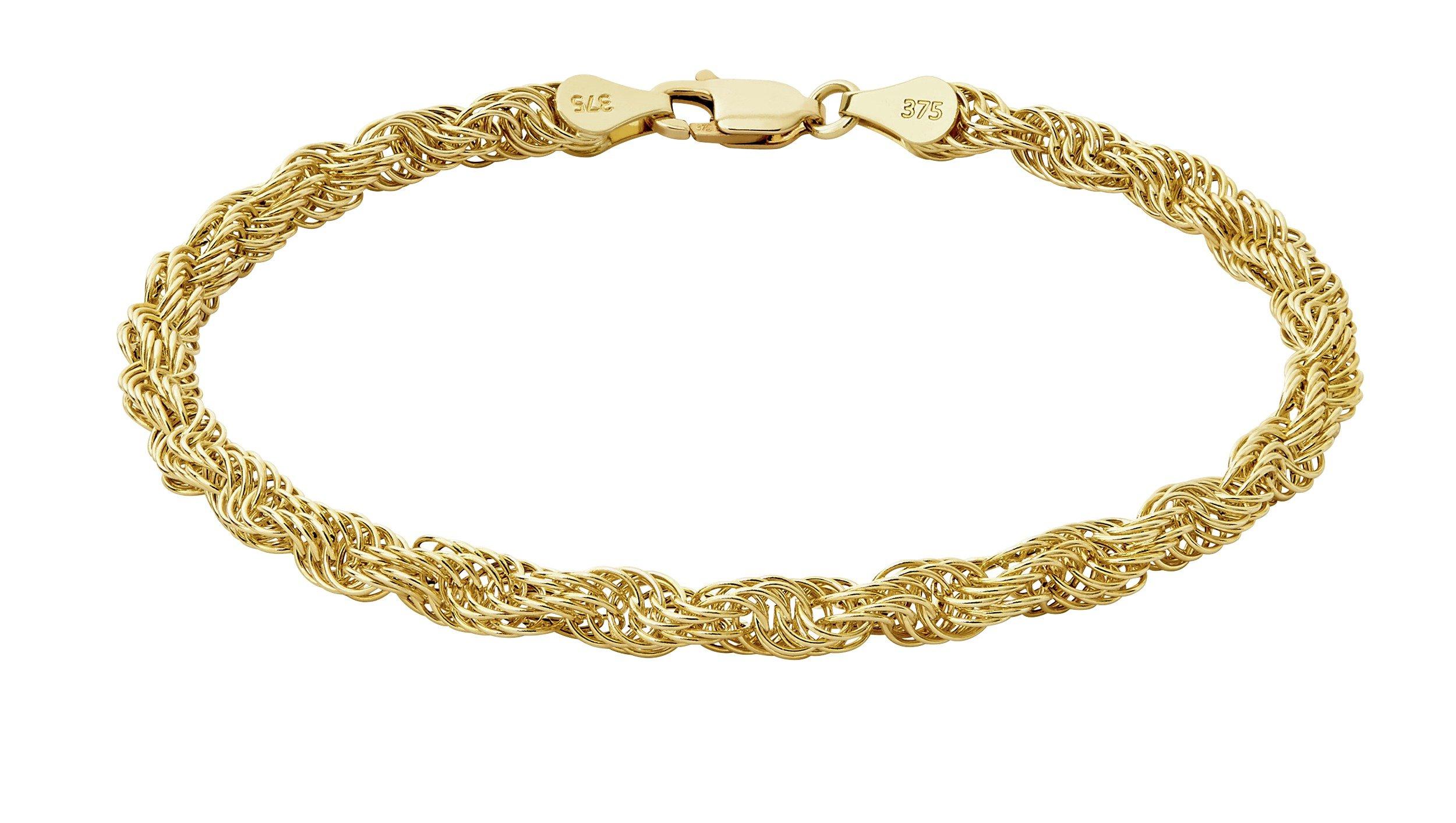 Revere 9ct Gold Plaited Rope Link Bracelet