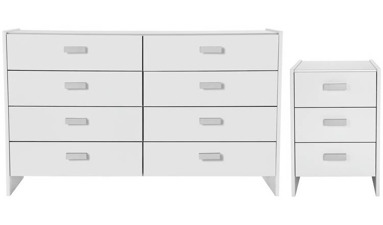 Argos Home Capella Bedside & 4+4 Drawer Chest Set - White