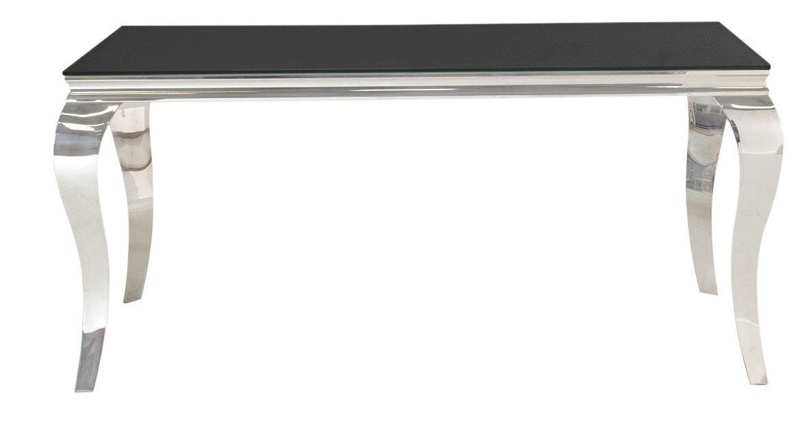 Image of Furnoko Louis Glass 4 Seater Table - Black