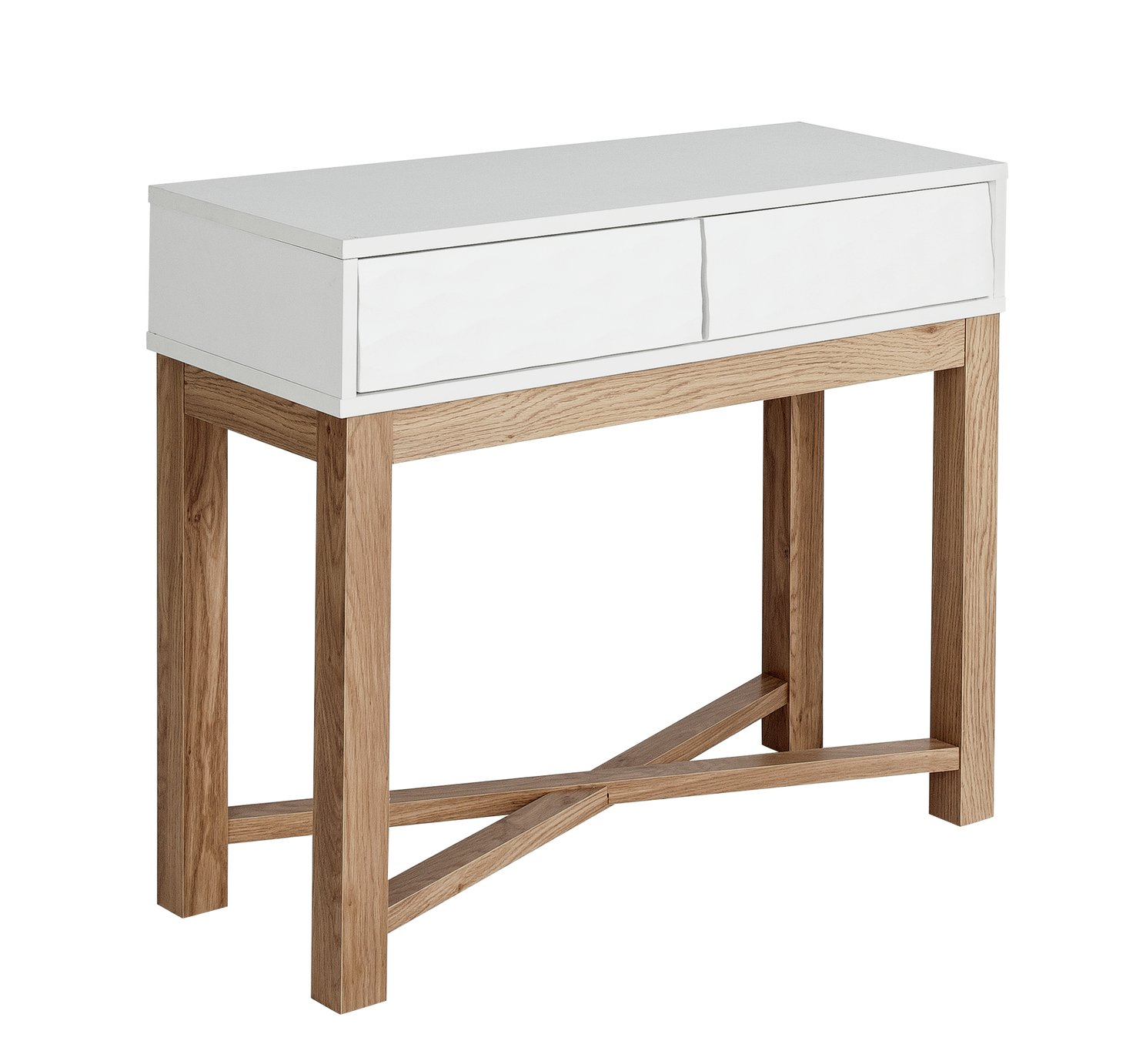 Hygena zander console table two tone octer for Sofa table argos
