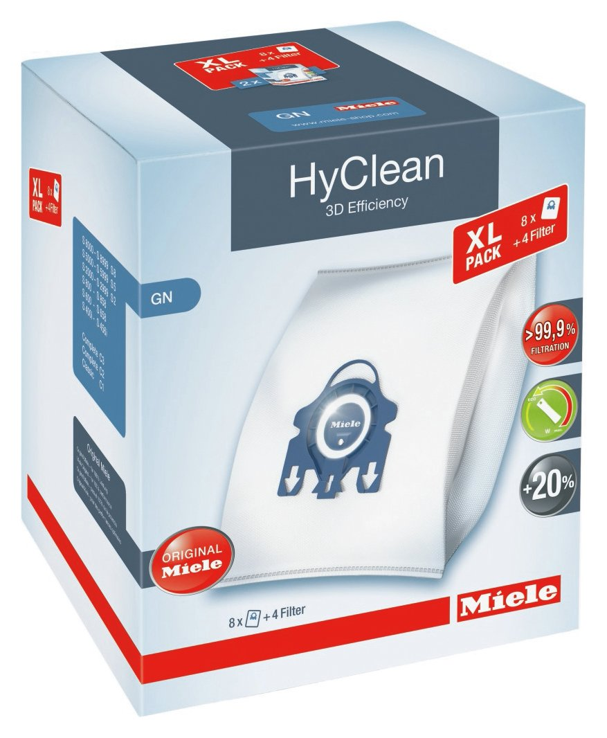 Miele Pack of 8 GN Hyclean 3D Efficiency Dustbags