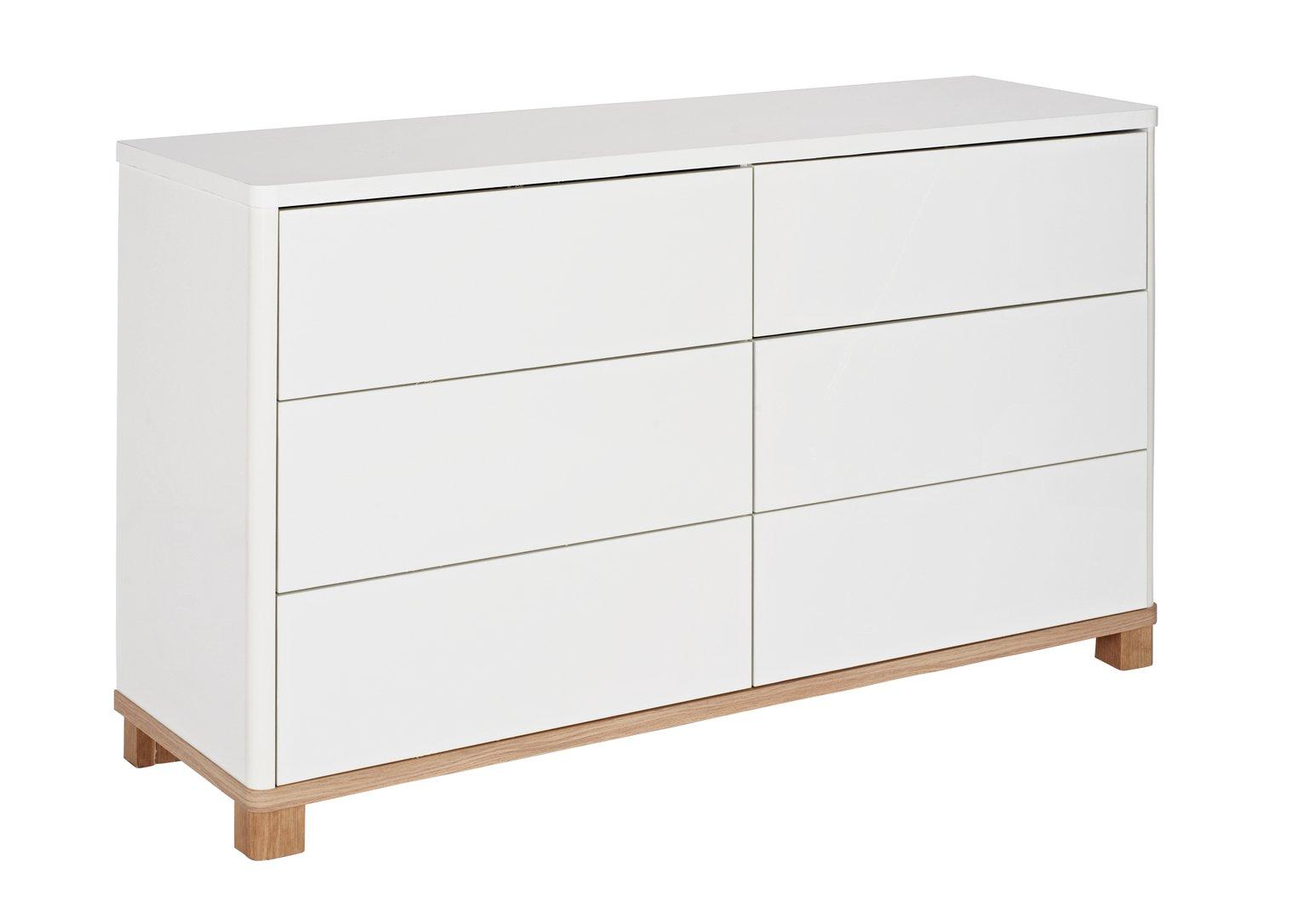 Hygena Finn 3+3 Drawer Chest - White Gloss