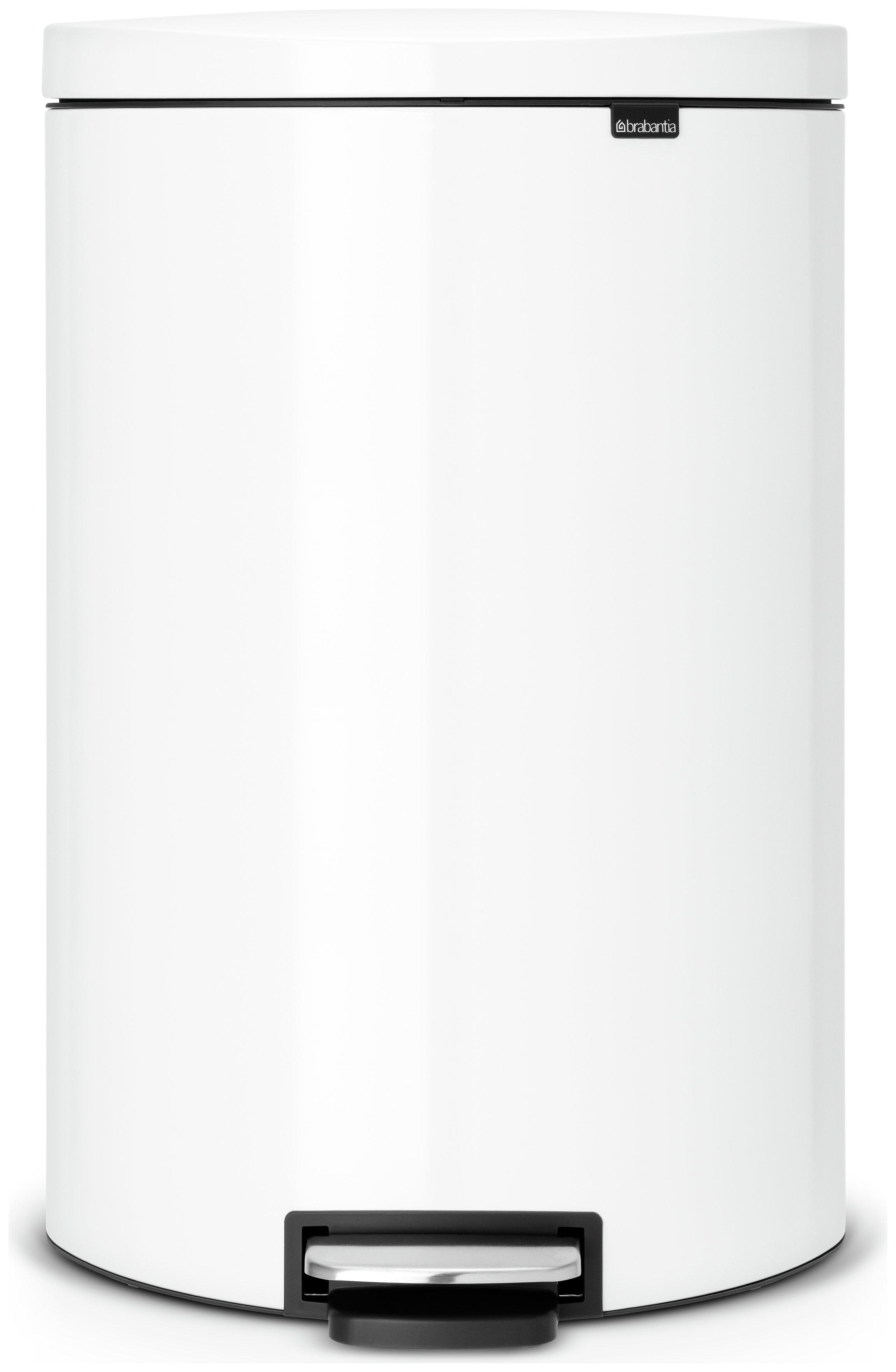 White Kitchen Bin buy brabantia 40 litre flat back pedal bin - white at argos.co.uk