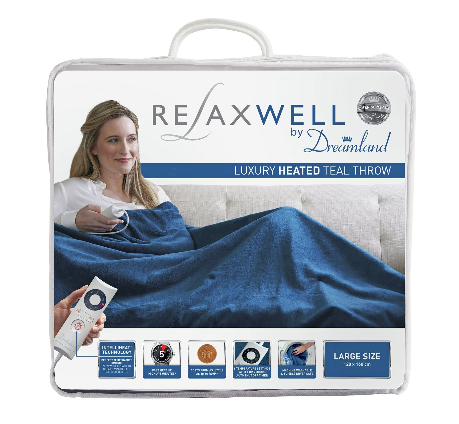relaxwell by dreamland heated throw  teal