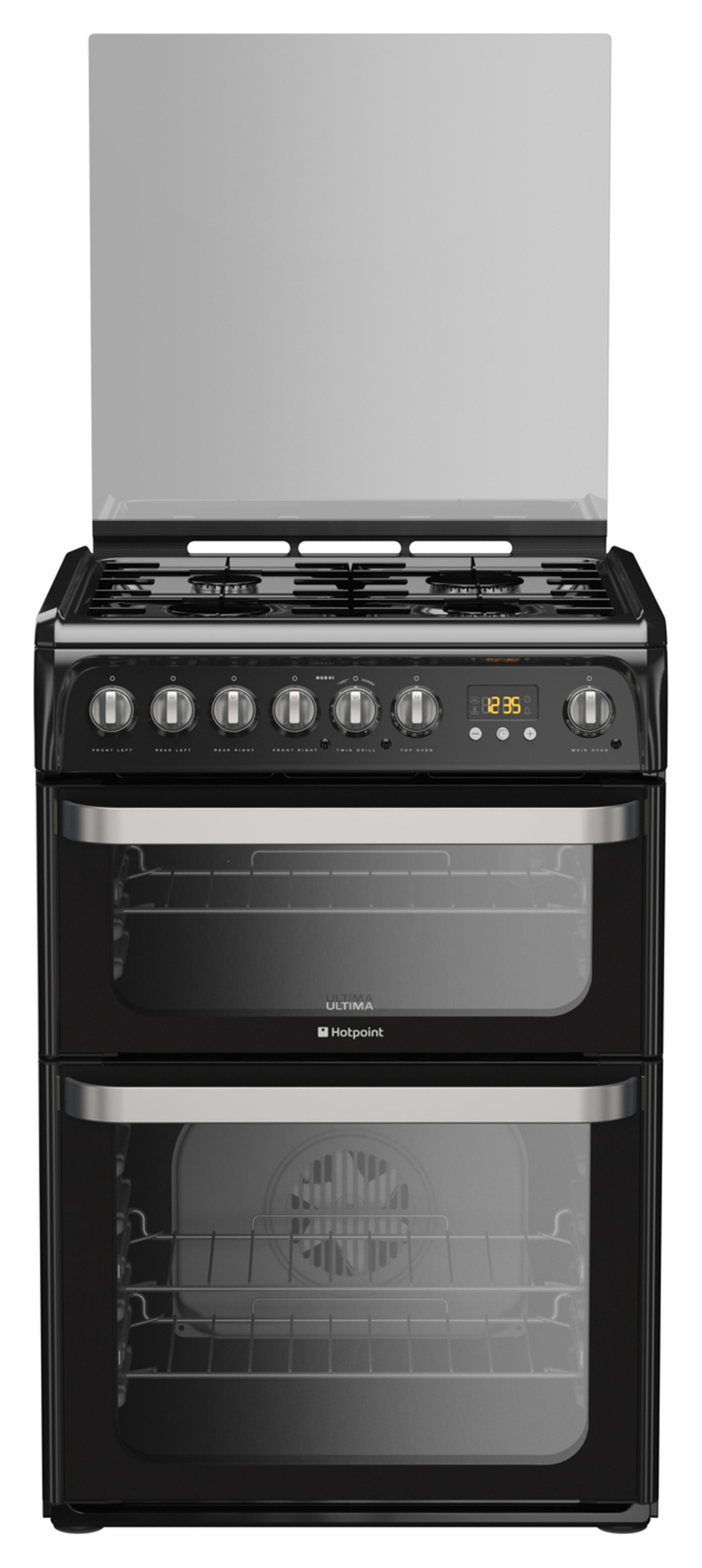 Hotpoint HUD61KS 60cm Double Oven Dual Fuel Cooker - Black