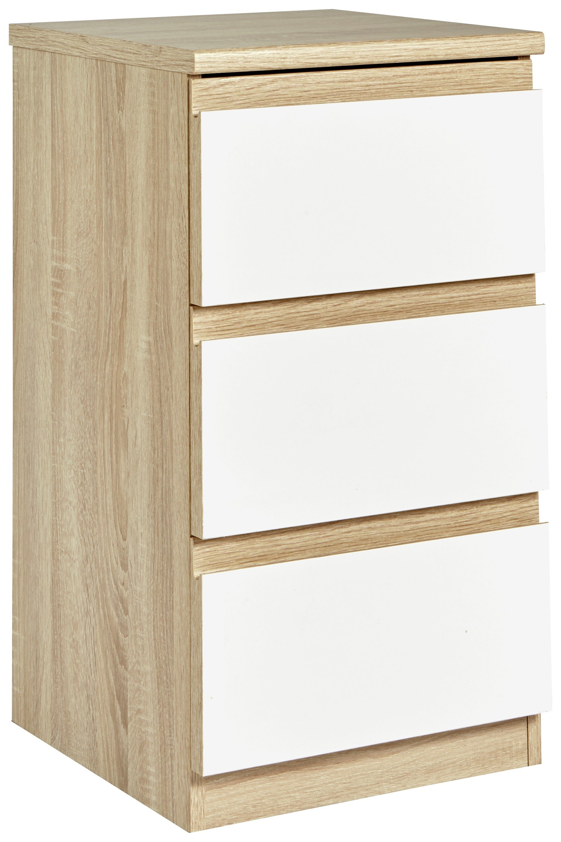 Image of Avenue 3 Drawer Bedside Chest - Oak Effect and White Gloss