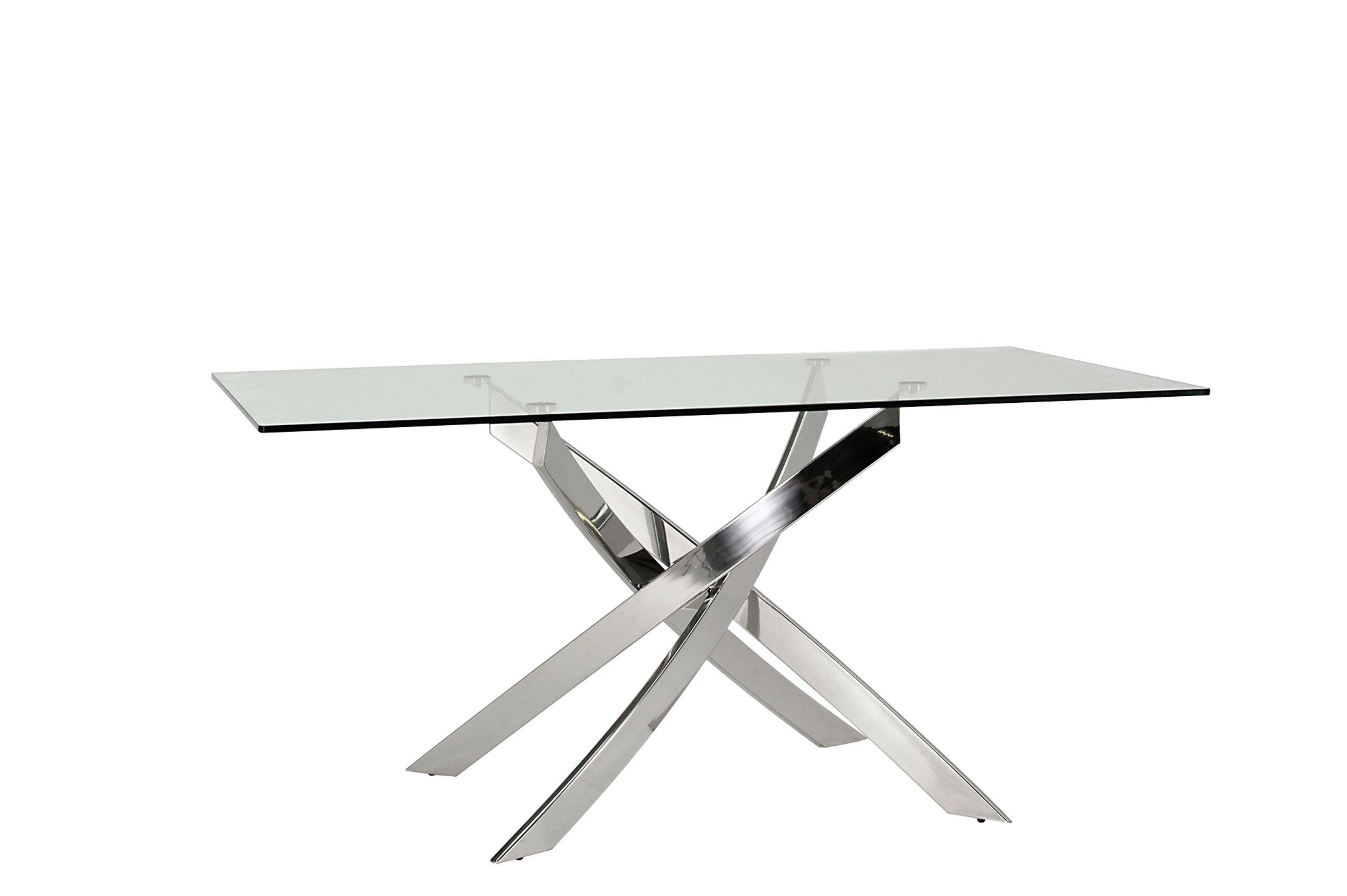 Furnoko Kalmar Glass 4 Seater Table - Clear